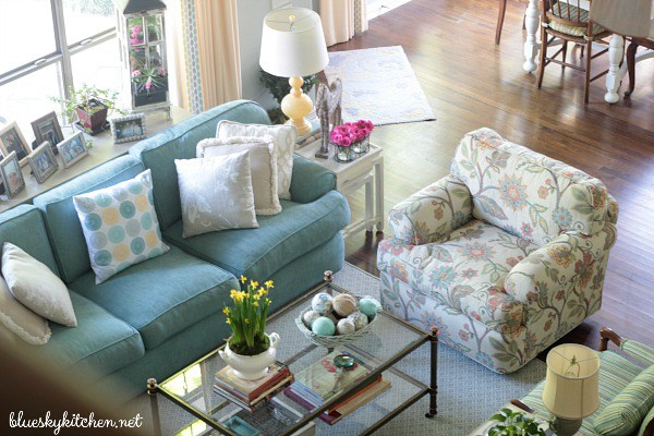 farmhouse living room, coastal living room, blue and white, Bluesky kitchen, home tour