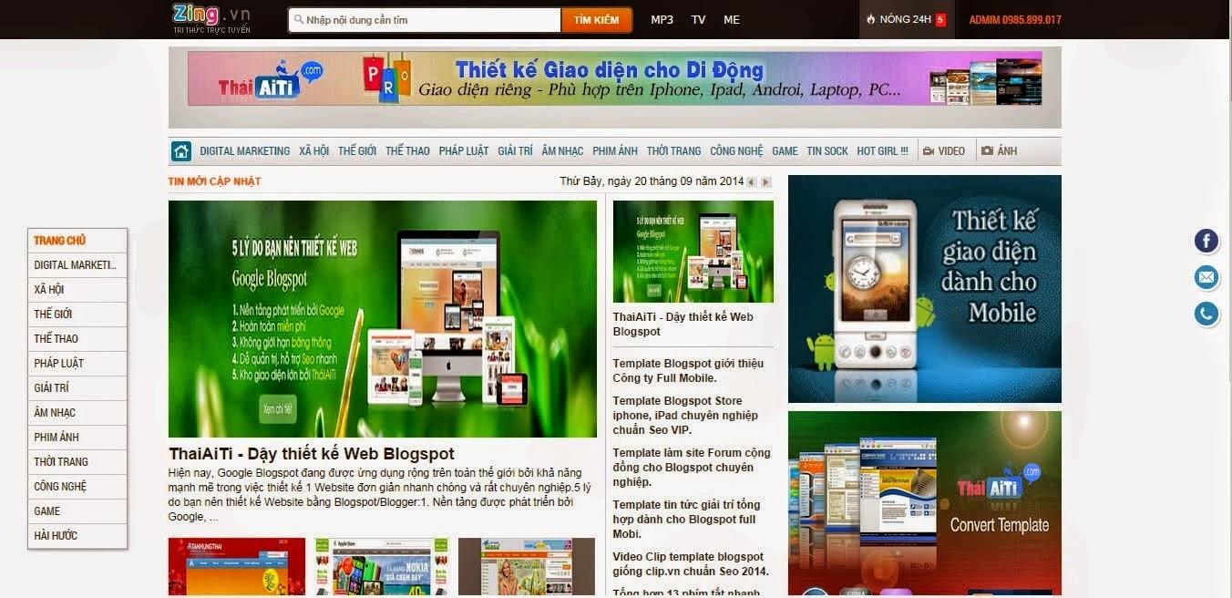 Share template blogspot tin tức giống news.zing.vn cực đẹp