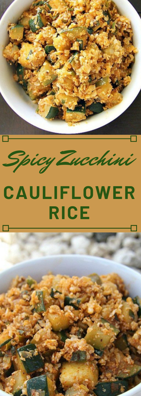 Spicy Zucchini Cauliflower Rice #cauliflower  #vegetarian #zucchini #mushroom #vegan
