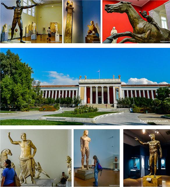 Acervo e fachada do Museu Nacional de Arqueologia de Atenas, Grécia