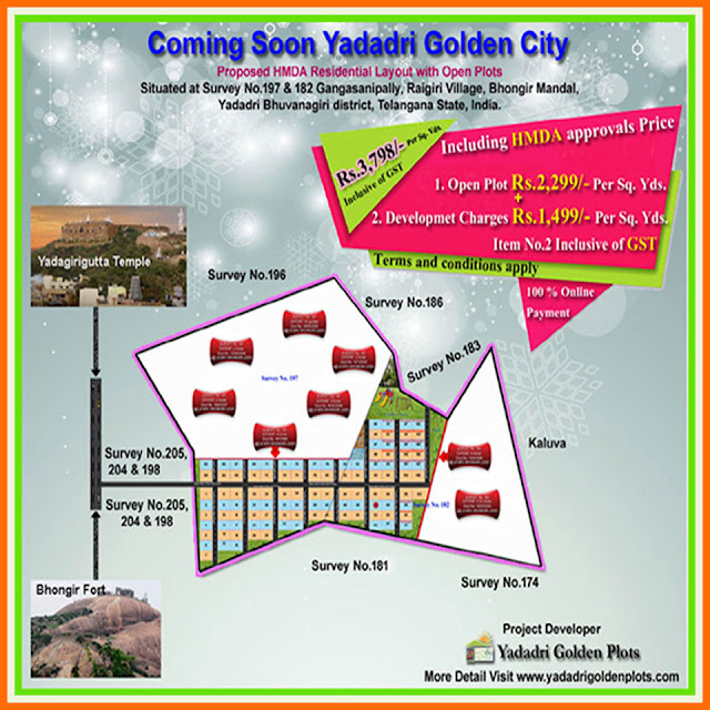 Coming soon yadadri golden city – Residential open plot layout Plan