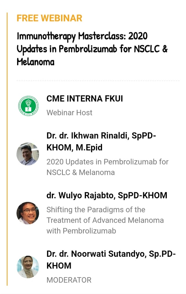 *FREE WEBINAR*    *Immunotherapy Masterclass: 2020 Updates in Pembrolizumab for NSCLC & Melanoma*