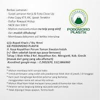Lowongan Kerja Gresik di UD. Podomoro Plastik November 2020
