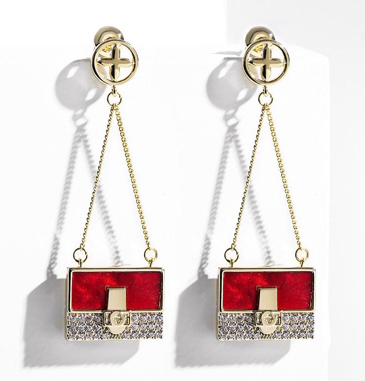 時尚個性風鋯石錢包耳環