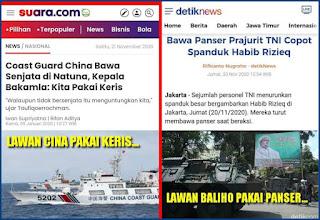 Pakai Keris Lawan Kapal China, Pakai Panser Lawan Baliho, Gegara Corona?
