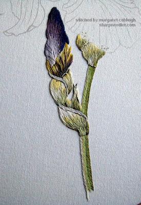 Thread painted iris bud and stem - Iris Spartan (design by Trish Burr)