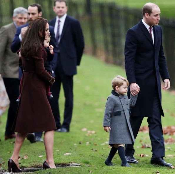 Kate Middleton wore Tod's Fringed Leather Pumps, wore Hobbs Celeste coat. Prince George and Princess Charlotte
