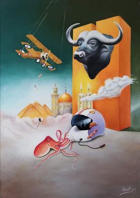 لوحة الجندي الجاموس للفنان عبد الرحيم غزالي