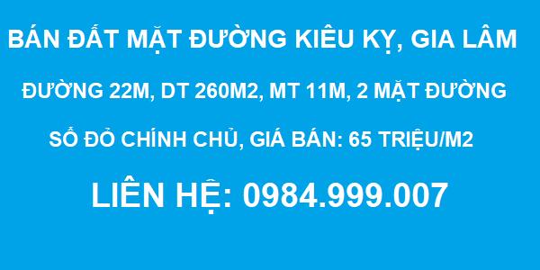 Bán đất mặt đường Kiêu Kỵ, Gia Lâm, đường 22m, DT 260m2, MT 11m, SĐCC, 2020