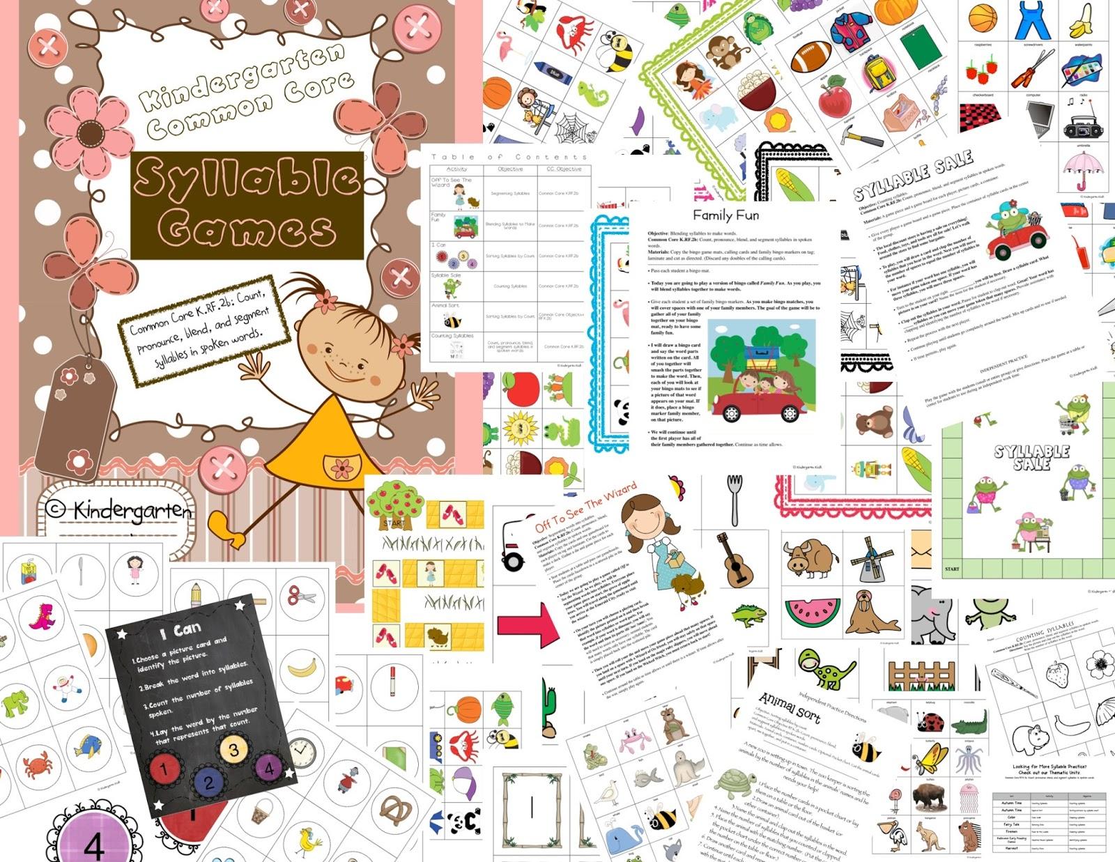 Kindergarten Kiosk Teaching Syllables Common Core Rf 2b