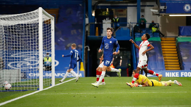 Kai Havertz scores Chelsea's third goal in 3-3 draw against Southampton