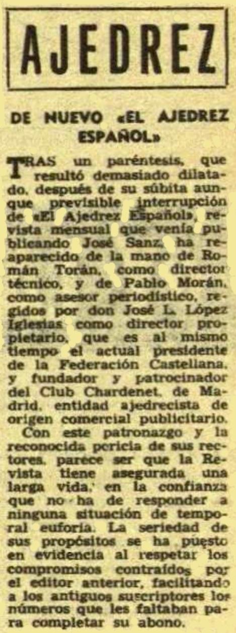 Recorte de la revista Destino sobre el IV Campeonato de España de ajedrez por equipos 1960