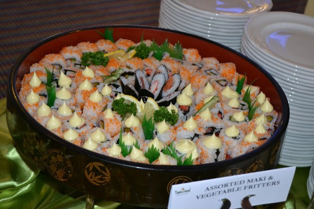 Sushi served during dinner buffet at Timberland Sports and Nature Club