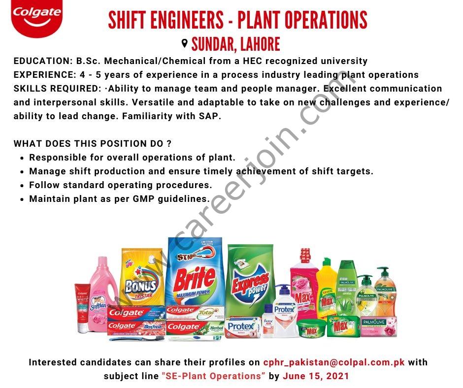Colgate Palmolive Pakistan Ltd Jobs 2021 Latest For Shift Engineers - Apply via cphr_pakistan@colpal.com.pk