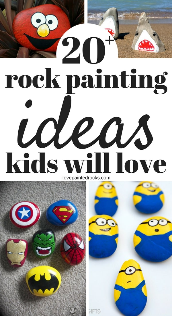 How to make easy DIY painted rocks for kids. These simple ideas are easy enough for kids to paint. Perfect for both boys and girls. Learn how to make more than 20 different awesome rock painting projects kids will love.  #crafts #painting #rockart #paintedrocks #rockpainting #ilovepaintedrocks
