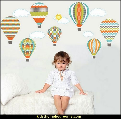 Hot Air Balloons Wall Decals Turquoise Lime Orange Removable Reusable Peel & Stick