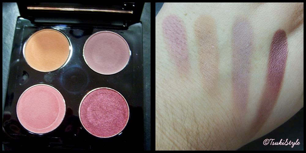 makeup geek eyeshadow quad, matte, tsuki style makeup