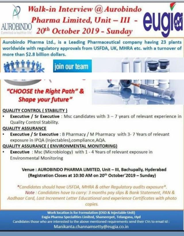 Aurobindo Pharma / Eugia Pharma - Walk-In Interviews for Experienced - QC / QA on 20th Oct' 2019