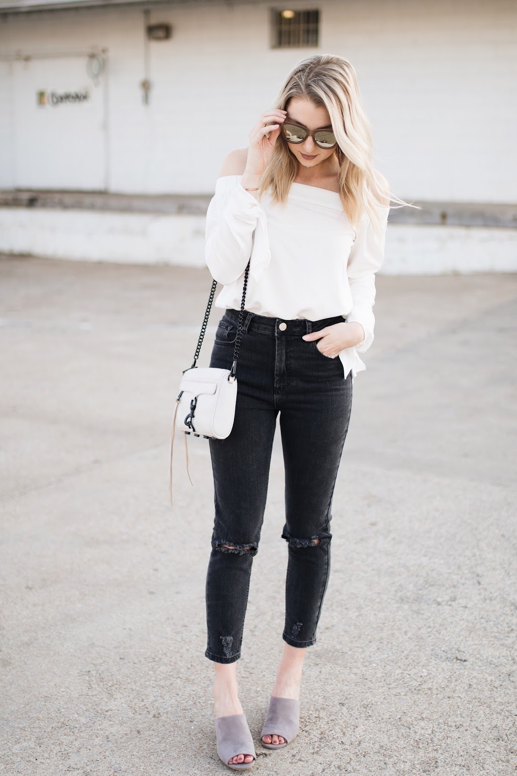 black distressed mom jeans
