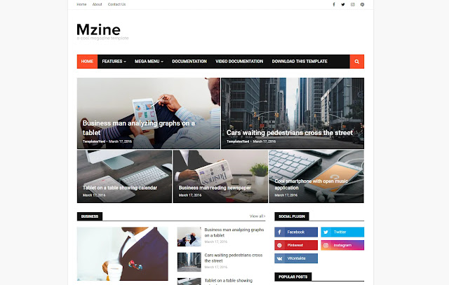 MZine Responsive News Magazine Blogger Template Theme