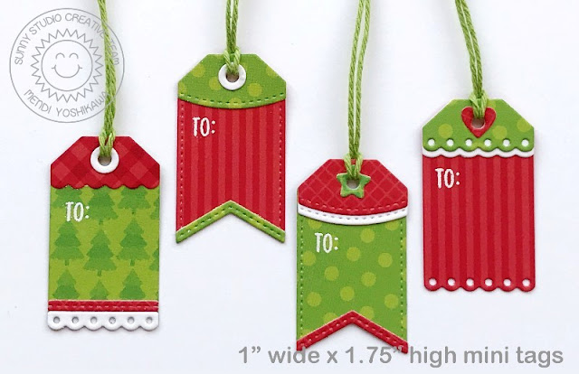 Sunny Studio Blog: Mini Red & Green Stitched and Scalloped Holiday Gift Tags (using Window Quad Square Dies, Holiday Cheer Paper, Striped Silly Paper & Classic Gingham Paper)