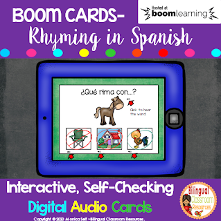 BOOM Cards Rhyming in Spanish- Juego de rimas