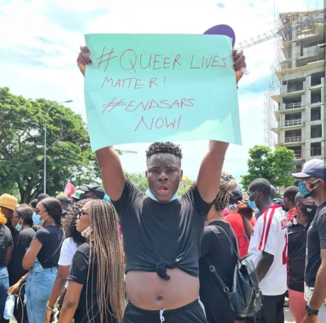 #EndSars Protest, Nigerian Queer man storms the street to protest for the rights of Gays and lesbians (Watch)