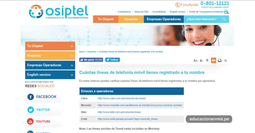 OSIPTEL: Cuántas líneas de telefonía móvil tienes registrado a tu nombre en Claro, Movistar, Bitel y Entel - www.osiptel.gob.pe