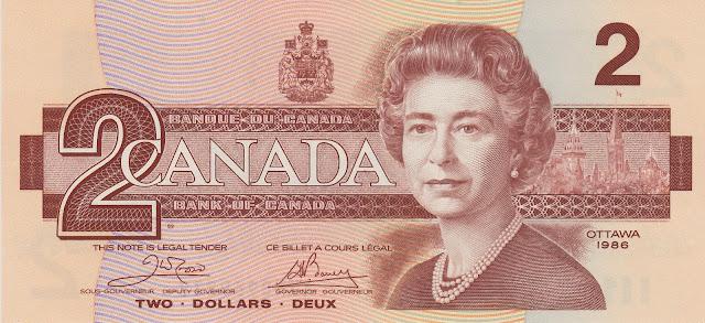 Canadian Banknotes 2 Dollars bank note 1986 Her Majesty Queen Elizabeth II, Queen of Canada