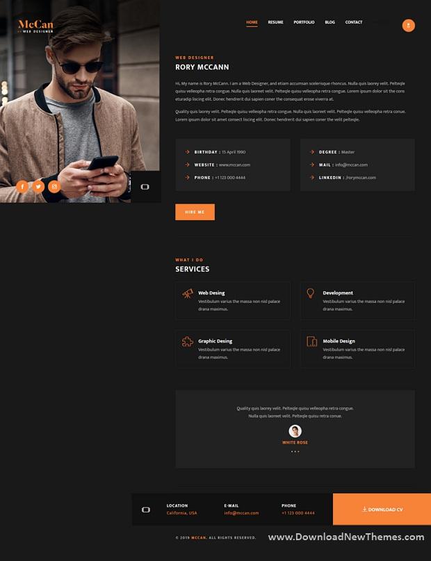McCan - Creative Personal Portfolio Template