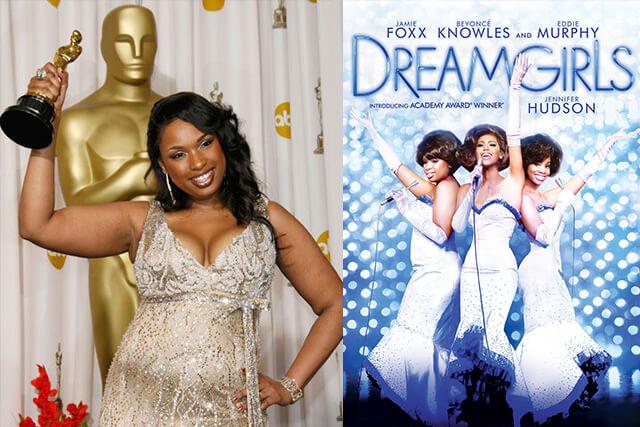 atriz jennifer hudson segurando o premio oscar que recebeu em dreamgirls