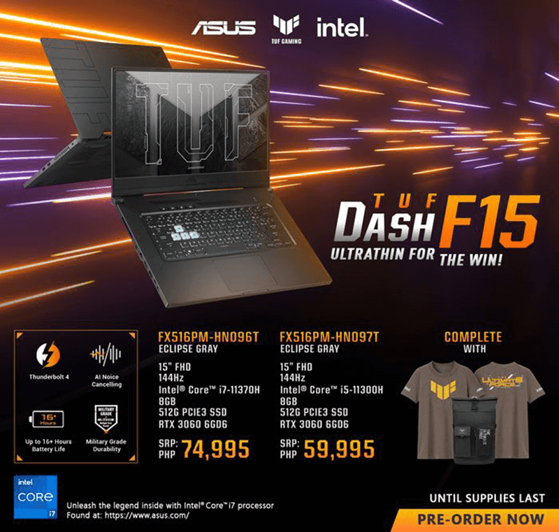 Those who will pre-order the new TUF gaming laptops will get freebies from ASUS