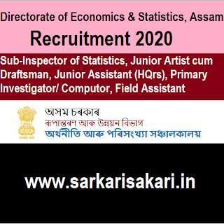Directorate of Economics & Statistics, Assam Recruitment 2020 -Junior Assistant/ Draftsman/ Field Assistant Etc (133 Posts) Apply Online