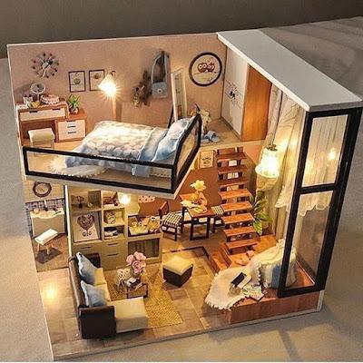 denah rumah unik 2 lantai