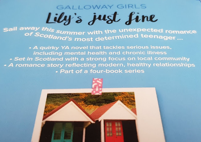 Back page Lily's Just Fine Young Adult Fiction with blurb and seaside beach huts