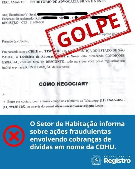 Setor de Habitação informa sobre açoes fraudulentas envolvendo cobranças de dividas da CDHU