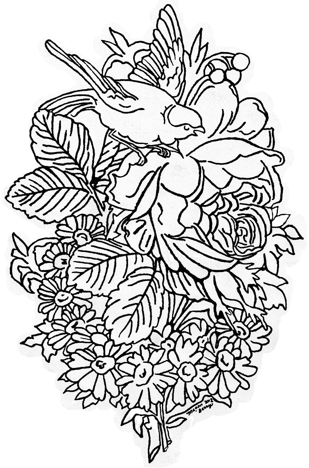 Lilac Amp Lavender Vintage Bird Amp Flowers Clip Art