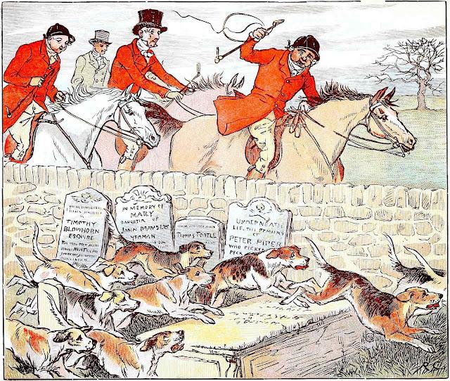 a Randoph Caldecott illustration of fox hunting