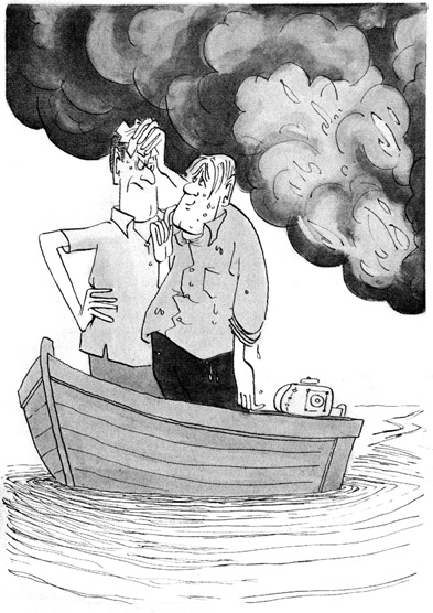 Two men in a small boat with billowing smoke in the distance.