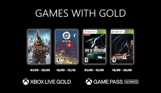Xbox Live Gold : Les jeux de Septembre 2021