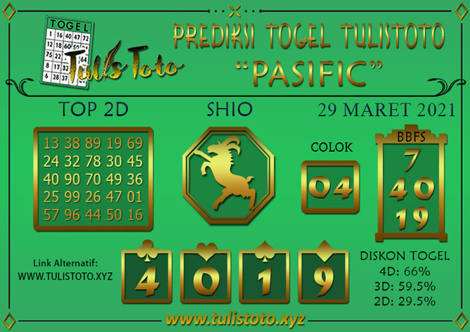 Prediksi Togel PASIFIC TULISTOTO 29 MARET 2021