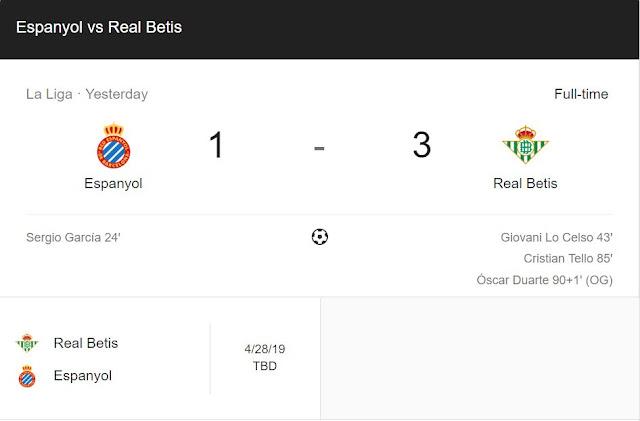 Replay Gol Espanyol vs Real Betis Skor Akhir 1-3