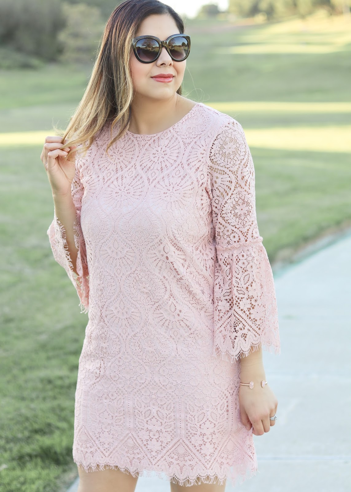 blush lace dress with sleeve details, kendra scott cuff