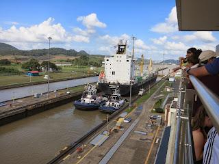 ship in the Miraflores Lock, Panama