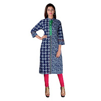 Blue Half And Half Cotton Kurti In Floral And Foliage Print With Resham Embroidery