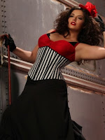 Steampunk plus size corset in black and white stripes