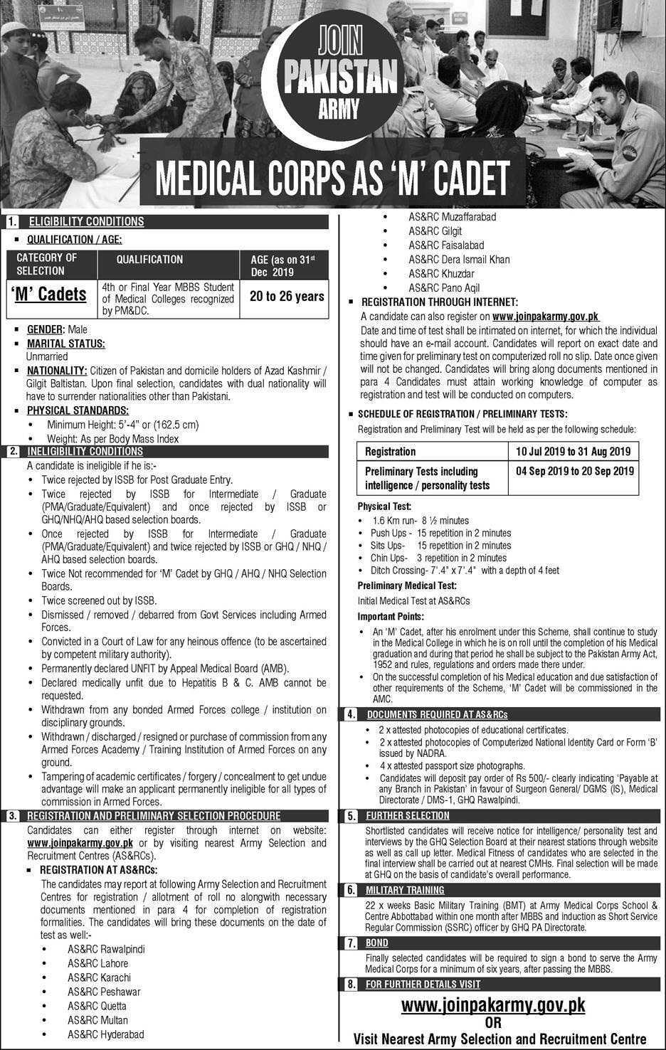 Pak Army medical Corp, Pak army jobs M Cadet, Join Pak Army