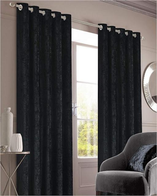 black crushed velvet blackout eyelet curtains
