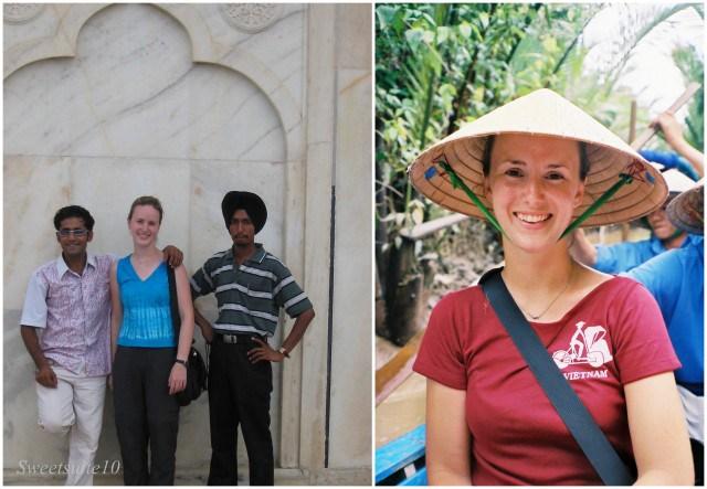 Me at the Taj Mahal, and in Vietnam