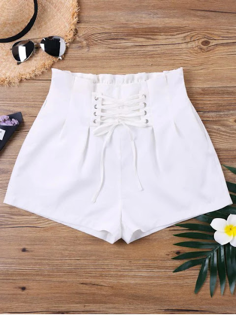 High Waist Lace Up Shorts - White S